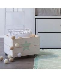Juguetero Con Ruedas, Vintage Home Design, Play Star, Madera Natural Pino Con Estrella- Natural - Envío Gratuito