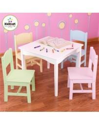 Set mesa y 4 sillas infantil colores pastel juguete KidKraft - Envío Gratuito