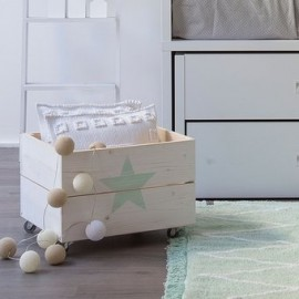 Juguetero Con Ruedas, Vintage Home Design, Play Star, Madera Natural Pino Con Estrella- Natural