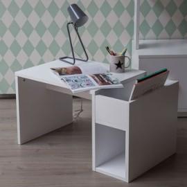 Escritorio Infantil con Silla, Vintage Home Design, Madera de Pino con Mueble para Libros- Blanco - Envío Gratuito