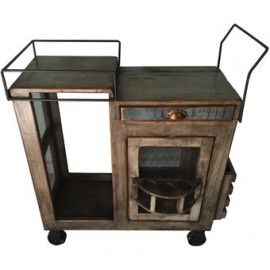 Carrito De Servicio Madera, Vintage Home Designe, Toledo, Movible Con Ruedas De Hierro Doble Vista, Porta Vasos Giratorio - Enví