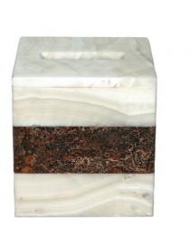 Cubierta Para Pañuelos De Onix Cubica Palmas de Reyna Enchanted White & Brown-Multicolor - Envío Gratuito