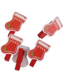 Generic 6x Navidad Clips De Madera Clavijas Titular De La Tarjeta De Navidad De Decoración Calcetines De Navidad - Envío Gratuit