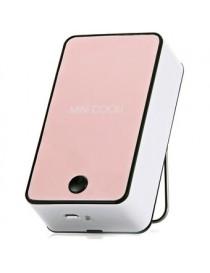 Mini Portátil De Aire Acondicionado Ventilador De Refrigeración 1400mAh 5V USB Recargable Con Soportede -Rosado