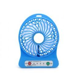 Mini USB Fan LED Soplador Portátil Aire Acondicionado Escritorio Bolsillo Móvil Batería Ventilador Eléctrico (Azul)