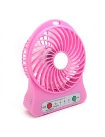 Mini USB Fan LED Soplador Portátil Aire Acondicionado Escritorio Bolsillo Móvil Batería Ventilador Eléctrico (Rosado)