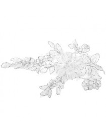 Generic Hermoso Blanco Apliques De Coser Costura Poliéster Flores Encaje Parche 11 Inch - Envío Gratuito