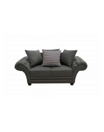 Love Seat Gray Fabou - Gris Oxford, Capitonado, Moderno, Minimalista - Envío Gratuito