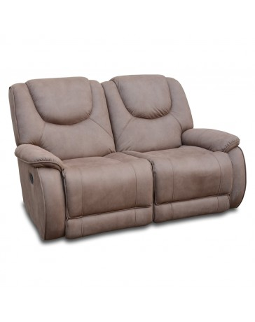 Reclinable Doble Houston Nubuck Café - Envío Gratuito