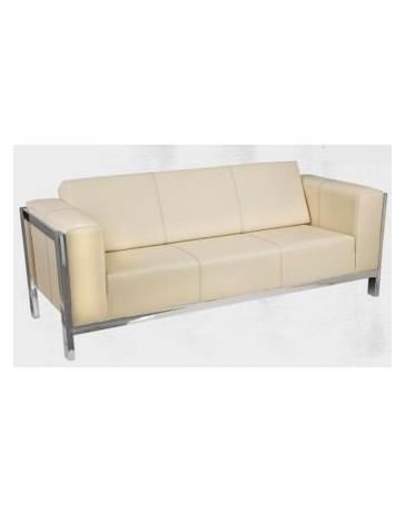 sala sofa moderna en piel y cromo 3 persona - Envío Gratuito