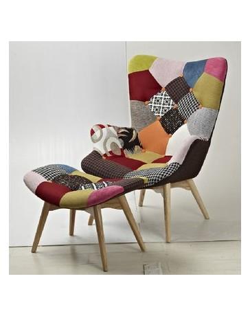 Silla sillón modelo ADONIS PATCH con descansa pies IL MIO MUBLE-Bicolor - Envío Gratuito
