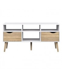 Mesa de TV-The H design-Mesa de TV Kim estilo moderno con madera natural-blanco - Envío Gratuito