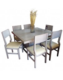 Comedor con 6 sillas Milenium-Gris Patinado - Envío Gratuito