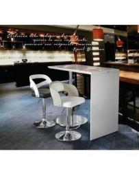 Mesa Minimalista Tipo Barra Bar Cocina Cromada Blanca Gm