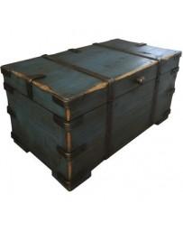 Baúl de Madera Bretagne Medium, Vintage Home Designe, TR033 Bretagne Medium, Aplicaciones de Metal Forjado- Azúl Indigo - Envío