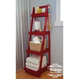 Estante Tipo Escalera, Vintage Home Designe, Touse, Abatible Con Repisas Ajustables Y Movibles Acabdo Vintage- Rojo - Envío Grat
