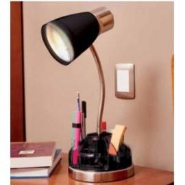 Lampara Organizadora, Vintage Home Designe, LAMP01, Cuello Flexible Foco Normal 60W, Cromo Base Traslucida- Negra - Envío Gratui