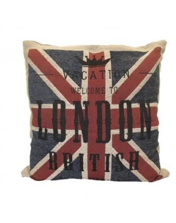 Cojín Decorativo Bandera Británica 45X45 Rojo Azul - Envío Gratuito