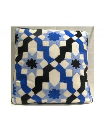 Cojín Decorativo Caleidoscopio 45X45 Azul Ngo Bco - Envío Gratuito