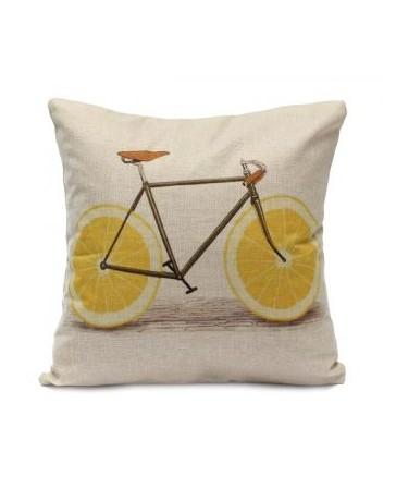 Slip Impreso fruta bicicletas Plaza de lino almohadilla de tiro del Caso Cojín Sofá cama - Envío Gratuito