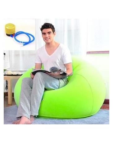 1Set Moda Flocado Inflable Sofá Bolso Silla Plegable Al Aire Libre Jardín Sofá Sala Mueble Esquina Sofa Cama Con Bomba -Verde -