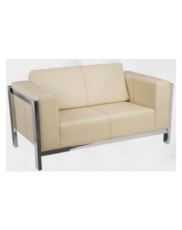 sala sofa moderna en piel y cromo 2 personas - Envío Gratuito