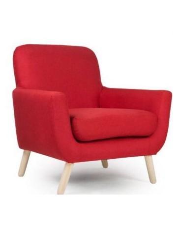 Sillón Individual Acojinado, Vintage Home Designe, Bladmore, Madera De Pino Tapizado- Rojo - Envío Gratuito