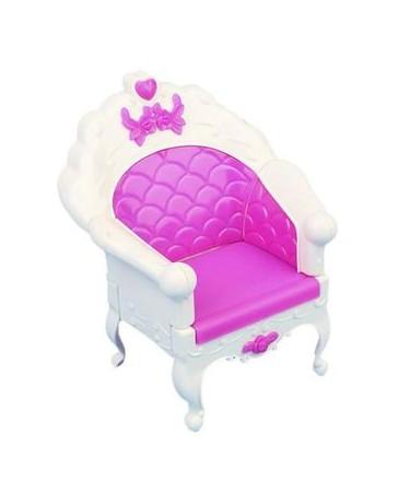 Generic Miniatura Silla Sillón Sofá Muebles De Casa De Muñecas Barbie - Blanco Y Rosado - Envío Gratuito