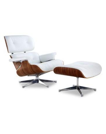 Sillon Silla Eames Lounge Charles Piel Italiana Madera Caoba Minimalista Elegante Moderno - Blanco Replica Exacta - Envío Gratui