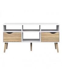 Mesa de TV-The H design-Mesa de TV Kim estilo moderno con madera natural-blanco - Envío Gratuito