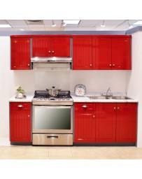 Cocina Modular Alondra New Challenge 2.43 Mts Roja - Envío Gratuito