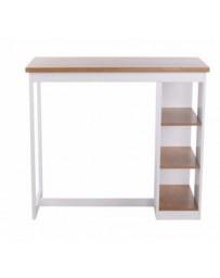 Mesa alta-The H design-Rolan-Mesa de bar estilo moderno con cubierta de madera-blanco - Envío Gratuito